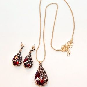 Jewelry - Peacock Red Ruby Crystal Gold Necklace Earring Set